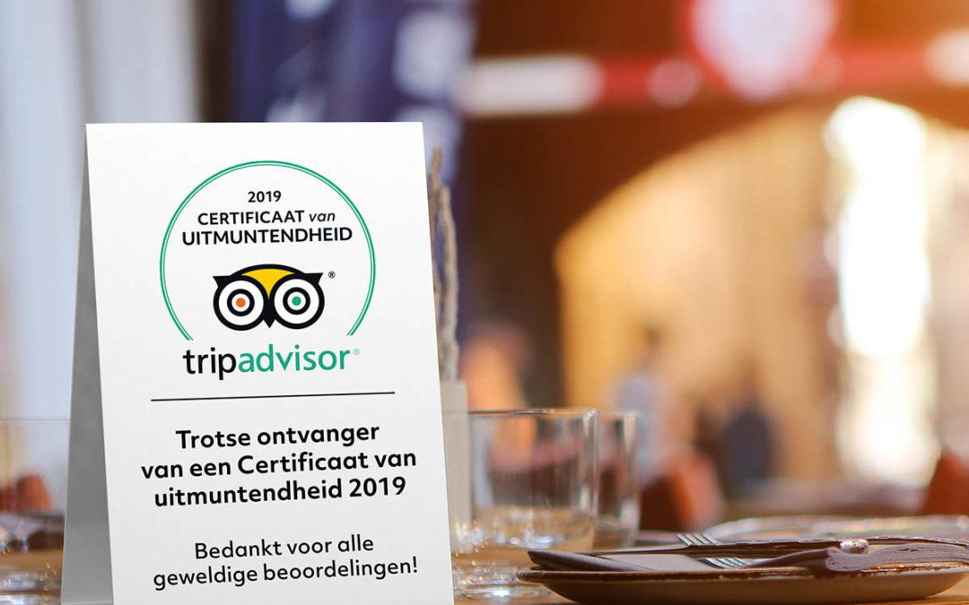 De Zeerover wint certificaat van Tripadvisor